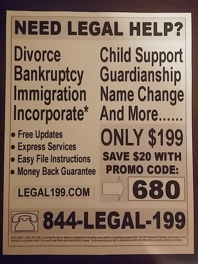 Need Legal Help Divorce  Bankruptcy  Plus Much More - Only  199 00