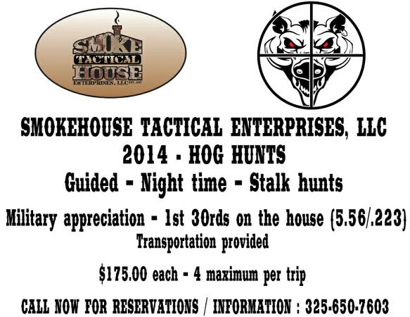 Hog Hunts  175 per Person  San Angelo