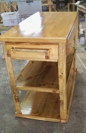 BEAUTIFUL HAND MADE SOLID WOOD MOBILE KITCHEN ISLAND ($225) - $225