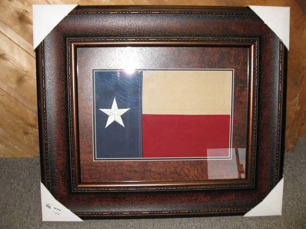 FRAMED DISTRESSED TEXAS FLAG -   x0024 60  CONROE TEXAS