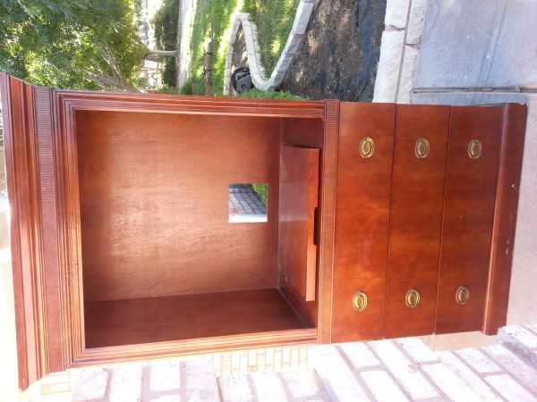 armoire tv stand all wood dark cherry - $75 (sherwood)