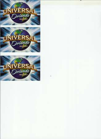 3 tickets for 5 Day   Universal Orlando Fl           -  500  san angelo