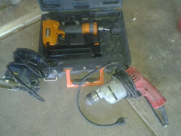 Rigid finish nail gun, Milwaukee 38 drill, and palm sander - $1 (San Angelo)