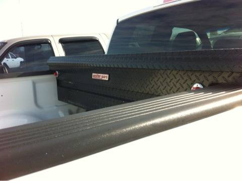 Weather-guard black diamond plate toolbox 1 year old low-profile very nice - $140 (Or best offer)