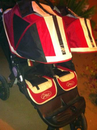Double stroller and red high chair - $75 (Bluffs)
