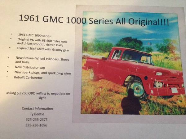 1961 gmc 1000  -   x0024 3250  Sweetwater