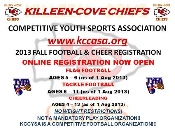 KILLEEN-COVE CHIEFS YOUTH FOOTBALL  amp  CHEER REGISTRATION  KILLEEN-COVE-HARKER HEIGHTS