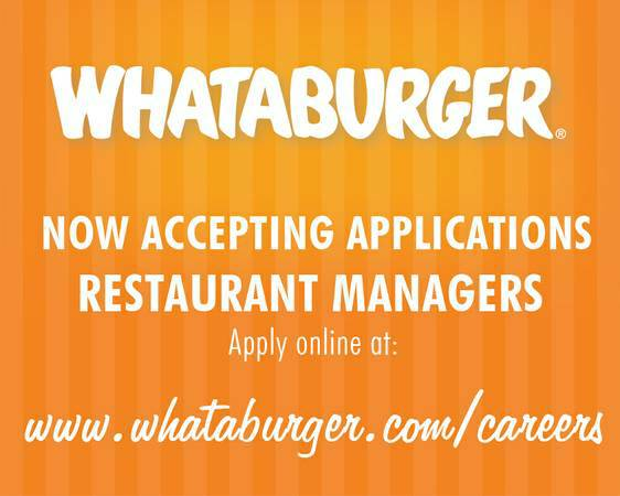 Whataburger Restaurant Managers  San Angelo  Big Spring   TX