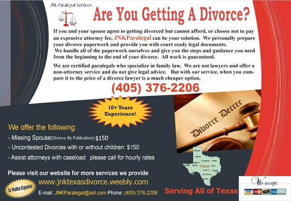 9733   9733   9733  Uncontested   Agreed Divorce with or w out kids -  150 00  Prepared by a Certified Paralegal
