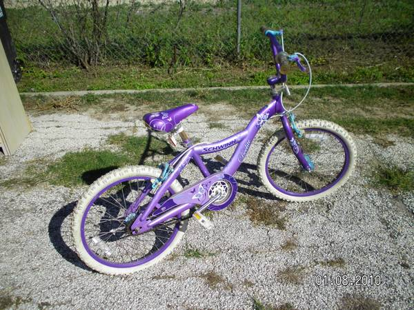 Girls Schwinn 20 inch purple butterfly bike - $25 (probandt flores)