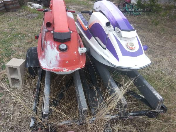 2 kawasaki stand up jet skis with trailer - x0024500 (spring branch)