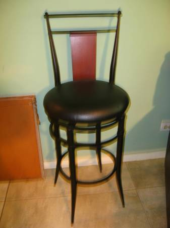 Barstools Two Leather Seated Black - $1 (Hollywood Park)