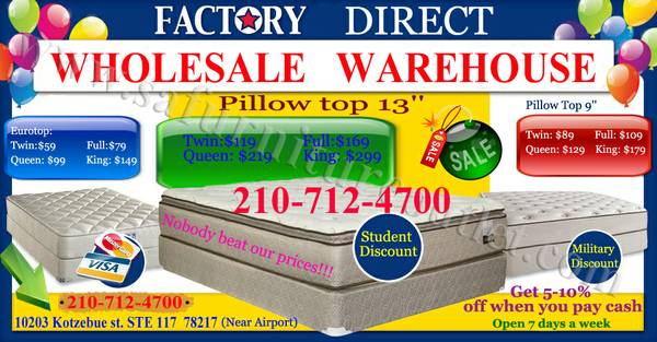 FACTORY DIRECT All Sizes MATTRESS Set Mattress SET and Bedroom SETS - $59 (NEAR AIRPORT)