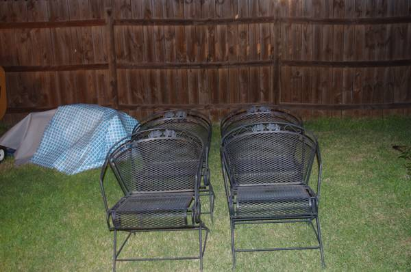 4 wrought iron rocking patio chairs - $25 (converse)