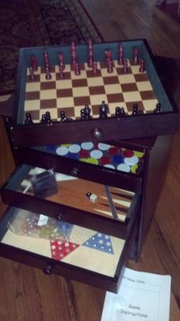 FUN GAME TABLE END table with drawers full of games - $45 (North San Antonio)