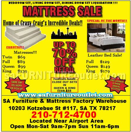 Factory Direct Furniture Mattress Outlet - $69 (We Deliver NO RETAIL)