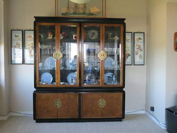 Burl Wood China Cabinet For Sale
