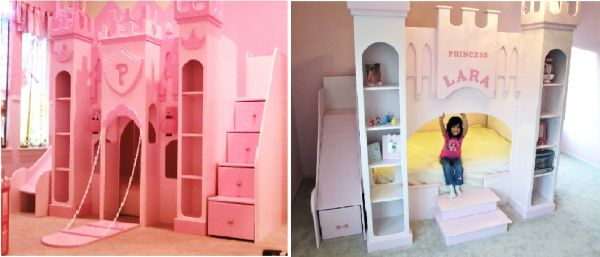 Custom kids bunk bed beds princess castle pirate cars or ANY THEME