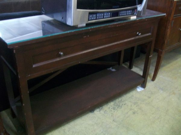 Buffet or TV Stand - Wood - New with Plexiglass Cover (reg. $350) - $135 (410 by Ingram Rd.)