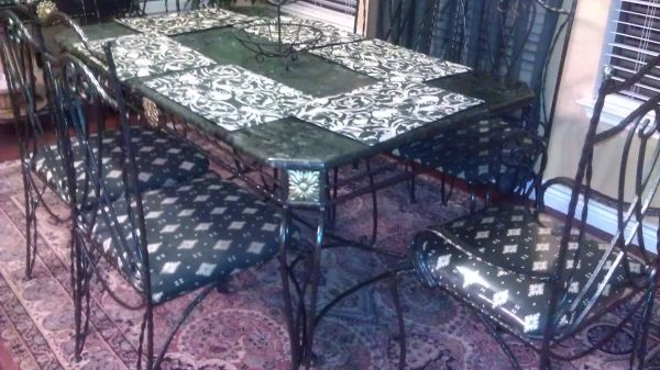 Wrought Iron Dining Room Table and Hutch with Marble Top - $800 (NC San Antonio)