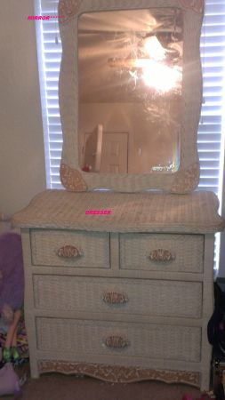 REDUCED Pier 1 Wicker Kids TWIN Bedroom set - $500 (nw sa)