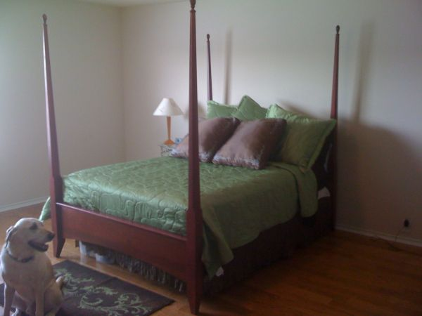 4 Post Wood Queen Bed Frame with supports - $75