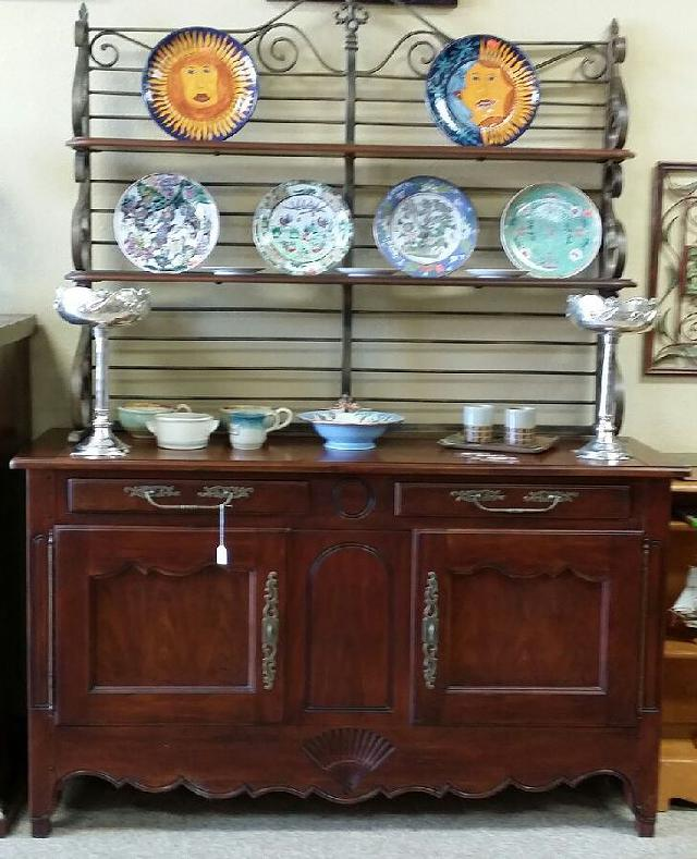 $400, Drexel Heritage Buffet w wrought Iron Hutch