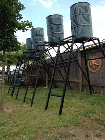 Deer Feeder Stand with ladder,platform and full 55 gallon drum - $175 (east of cabelas)