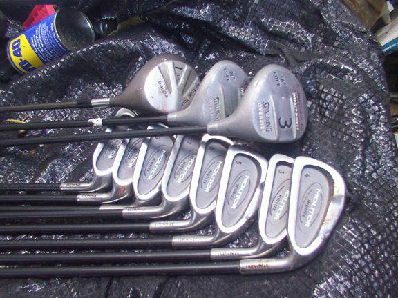 3-pw pro set of golf clubs spalding molitor with bag - $85 (78209)