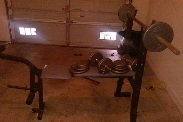 exertec weight bench with weights and curl bars - $80 (somerset rd and I 35)