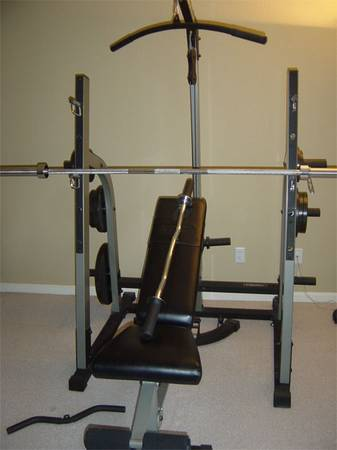 weight bench work out set - $325 (Boerne, TX)