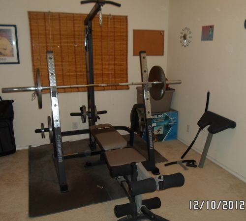 POWERHOUSE OLYMPIC WEIGHT BENCH WSQUAT RACK  AND OLYMPIC WEIGHTSET - $350 (Southeast(Brooks City Base) )