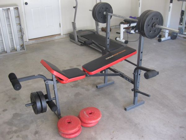 Weider Pro 245 weight bench and weights - $75 (Floresville La Vernia)