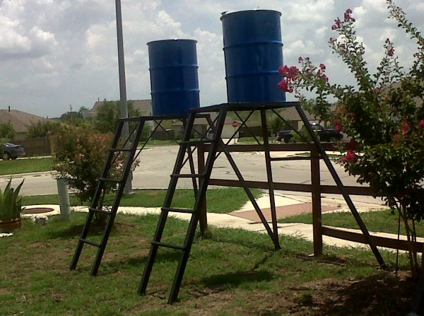 Deer Feeder Stand with ladder,platform and full 55 gallon drum - $150 (east of cabelas)