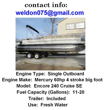 2008 Bentley Encore 24O Cruise SE Pontoon Boat - $2400