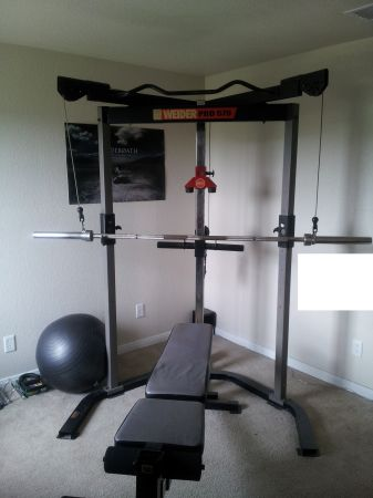 Self spotting weight bench w olympic weights - $300 (North central S.A.)