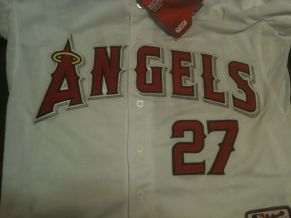 Brand New Authentic Majestic White Angels, TROUT 27 Jersey - SZ 54 - $50 (NW San Antonio)