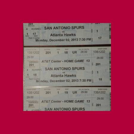 SPURS -VS- HAWKS - 1202 - 3 SEATS IN ROW 1 - MORE GAMES AVAILABLE - $25 (1 - VERY FIRST ROW )