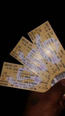 ALL 3 tickets for $70 Montgomery gentry .... Rodeo Concert - x002470 (southeast military , 37 south)