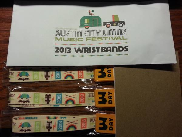 3 Austin City Limits (ACL) Weekend 2 Oct 11-13 wristbands - $225 (Helotes, TX)