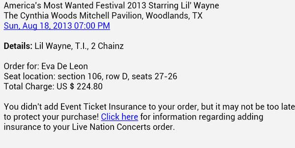 lil wayne cheap tickets need to sell quick, 2 tickets for 150 - $75 (san antonio)