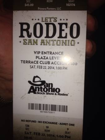 4 incredible rodeo tickets with a parking pass- Montgomery Gentry - x0024200 (Alamo Heights)