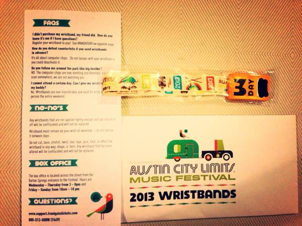 ACL 3 Day Wristband Weekend 2 (Oct 11-13) - $155 (Nw san antonio)