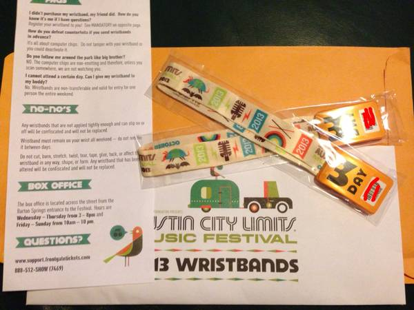 ACL 3 Day Wristband Weekend 2 - $180 (nw san antonio)