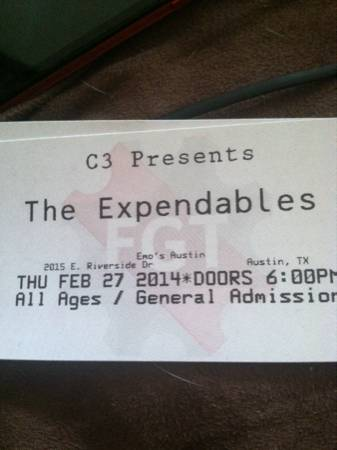 2 tickets to the expendables, stick figure and seedless reggae concert - x002432 (Medical center)