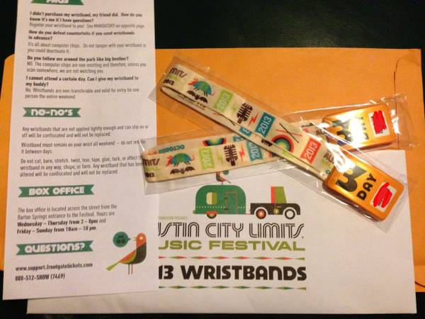 ACL 3 Day Wristband Weekend 2 (Oct. 11-13) - $205 (NW San Antonio)