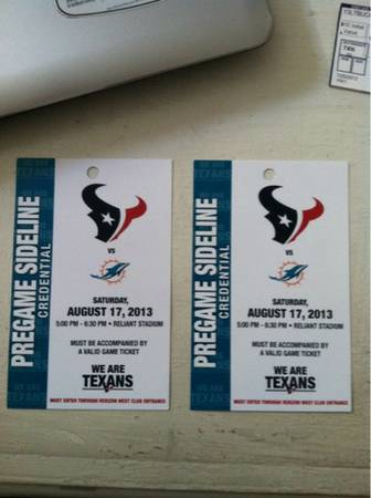 Houston Texans Pregame Sideline Tickets (2) - $250 (United States)