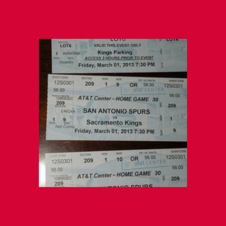 SPURS -VS- KINGS 301 ROW 1 CENTER COURT- MORE GAMES AVAILABLE - $47 (ROW 1 VERY FIRST ROW )