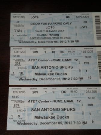 SPURS -VS- BUCKS - 125 ROW 1 CENTER COURT- MORE GAMES AVAILABLE - $47 (ROW 1 VERY FIRST ROW )