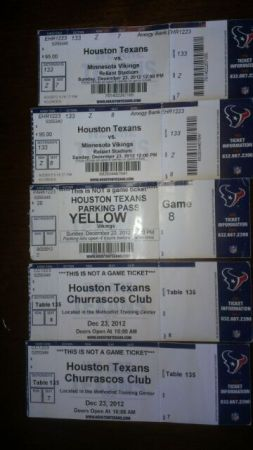 Texans vs Vikings Lowers Level Corner - Call 210-262-5683 - $550 (Call 210-262-5683 if you need tickets)